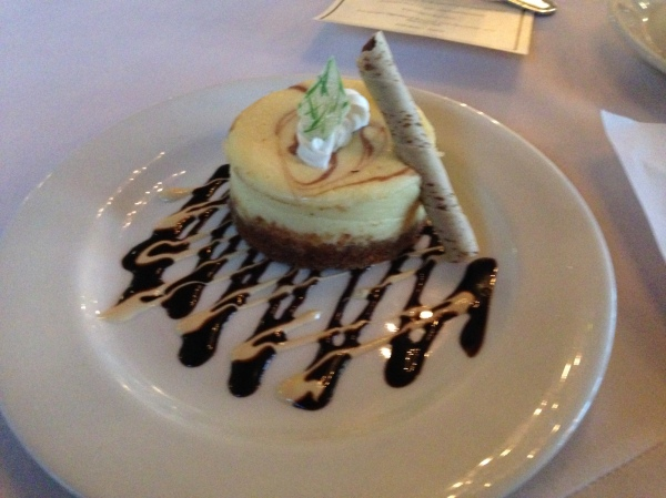 The dessert: banana chocolate chip cheesecake